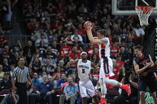 Gonzaga's Kyle Wiltjer (33) catches a rebound against Pepperdine in the West Coast Conference Basketball Championships semifinal game at the Orleans Arena in Las Vegas Monday, Mach 9, 2015. Gonzag ...