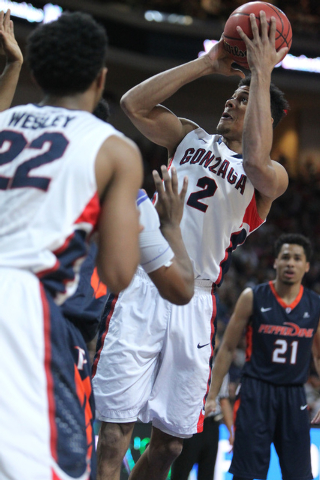 Gonzaga's Angel Nunez (2) goes up for a shot against Pepperdine in the West Coast Conference Basketball Championships semifinal game at the Orleans Arena in Las Vegas Monday, Mach 9, 2015. Gonzaga ...