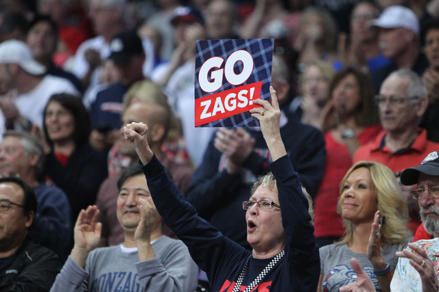 Gonzaga fans cheer for their team before their game against Pepperdine in the West Coast Conference Basketball Championships semifinal game at the Orleans Arena in Las Vegas Monday, Mach 9, 2015.  ...
