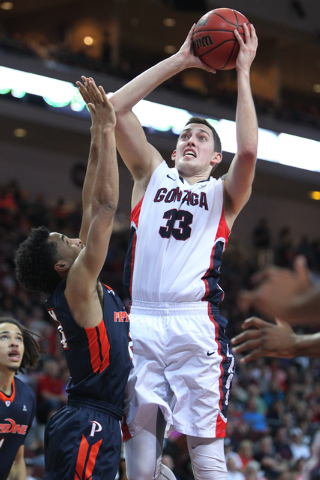 Gonzaga's Kyle Wiltjer (33) goes up for a shot against Pepperdine in the West Coast Conference Basketball Championships semifinal game at the Orleans Arena in Las Vegas Monday, Mach 9, 2015. Gonza ...