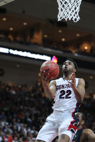 Gonzaga's Byron Wesley (22) goes up for a shot against Pepperdine in the West Coast Conference Basketball Championships semifinal game at the Orleans Arena in Las Vegas Monday, Mach 9, 2015. Gonza ...