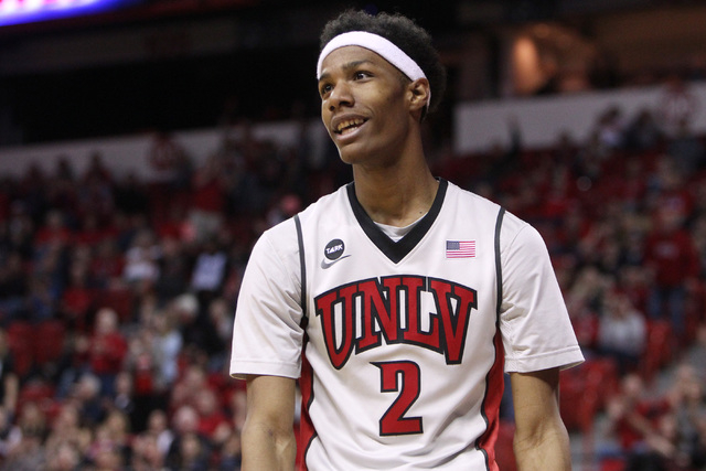 UNLV guard Patrick McCaw smiles as the Rebels pull ahead of Wyoming during the second half of their Mountain West Conference game Saturday, Feb. 28, 2015, at the Thomas & Mack Center.  UNLV won th ...