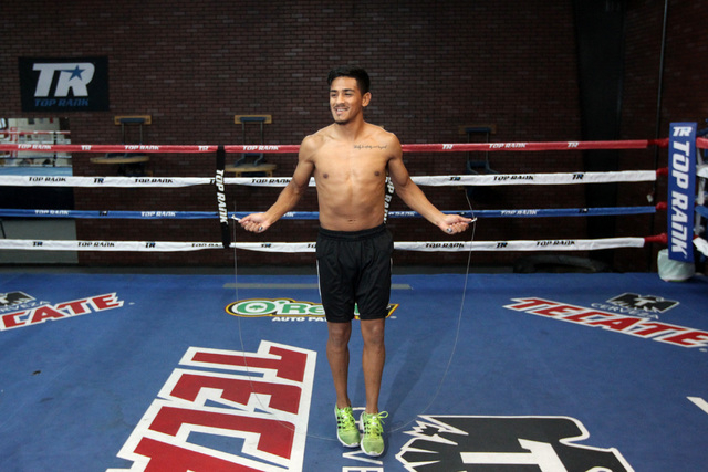 Super bantamweight boxer Jessie Magdaleno jumps rope during a media availability Thursday, Jan. 8, 2015, at Top Rank gym in advance of his title bout against Erik Ruiz on Saturday. (Sam Morris/Las ...