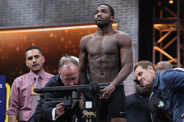 Adrien Broner weighs in at 141 lbs. Friday, March 6, 2015, at the MGM Grand Garden Arena in advance of his Premier Boxing Champions bout against John Molina on Saturday. (Sam Morris/Las Vegas Revi ...