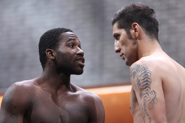 Adrien Broner, left, and john Molina face off during weigh ins Friday, March 6, 2015, at the MGM Grand Garden Arena in advance of their Premier Boxing Champions bout on Saturday. (Sam Morris/Las V ...