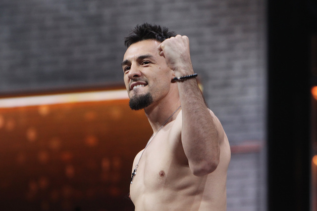 Robert Guerrero pumps his fist during weigh ins Friday, March 6, 2015, at the MGM Grand Garden Arena in advance of his Premier Boxing Champions bout against WBA welterweight champion Keith Thurman ...