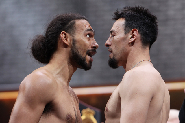 WBA welterweight champion Keith Thurman, left, and Robert Guerrero face off during weigh ins Friday, March 6, 2015, at the MGM Grand Garden Arena in advance of their Premier Boxing Champions bout  ...