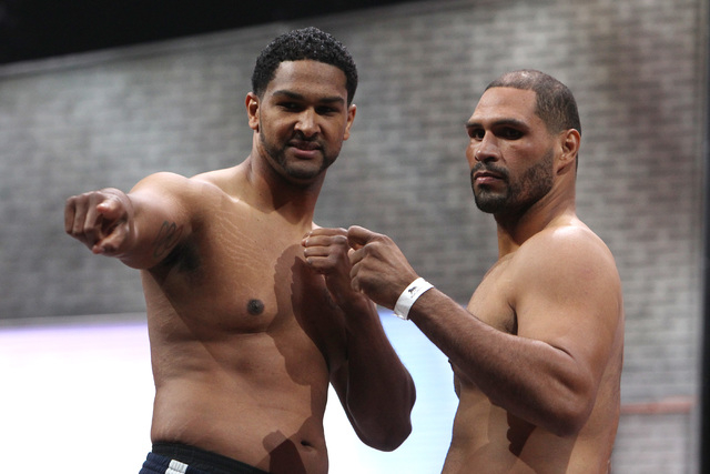 Heavyweights Dominic Breazeale, left, and Victor Bisbal pose during weigh ins Friday, March 6, 2015, at the MGM Grand Garden Arena in advance of their Premier Boxing Champions bout on Saturday. (S ...