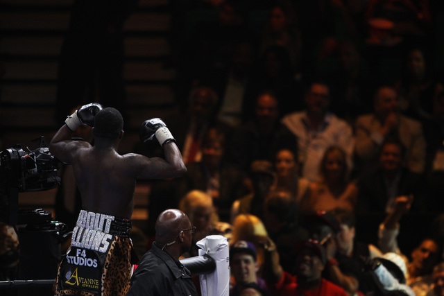 Adrien Broner salutes fans after defeating John Molina during their super lightweight fight Saturday, March 7, 2015 at the MGM Grand Garden Arena. Broner won by unanimous decision. (Sam Morris/Las ...