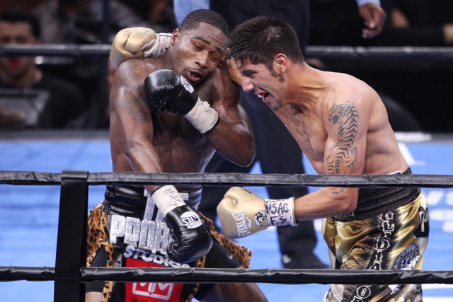 John Molina misses a right to Adrian Broner during their super lightweight fight Saturday, March 7, 2015 at the MGM Grand Garden Arena. Broner won by unanimous decision. (Sam Morris/Las Vegas Revi ...