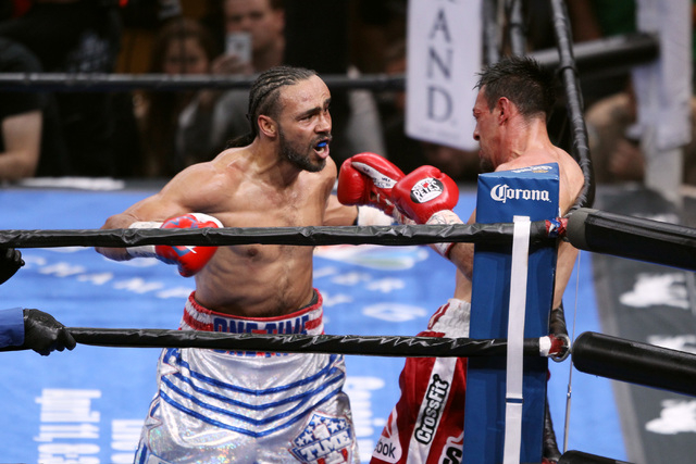 Champion Keith Thurman boxes Robert Guerrero into a corner during their WBA welterweight title fight Saturday, March 7, 2015 at the MGM Grand Garden Arena. Thurman won by unanimous decision. (Sam  ...