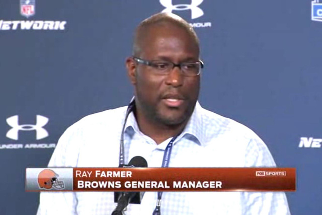 Cleveland Browns general manager Ray Farmer has been suspended four games for texting coaches during games in 2014 and the team was fined $250,000. (Screengrab/Fox Sports/NDN)