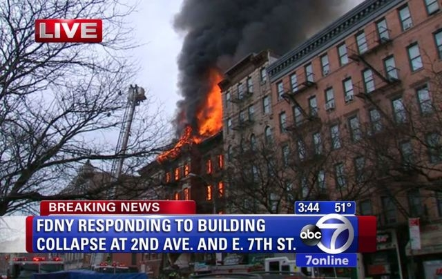 A building collapsed on Thursday in New York City's East Village neighborhood, police said. (Screengrab/ABC7)