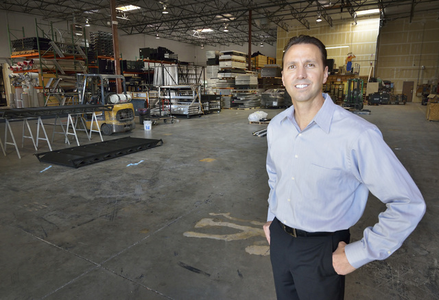 Greg Pancirov, vice president for Colliers International industrial division, is shown in part of the Stage House warehouse space at 5075 W. Diablo Drive in Las Vegas on Friday, Feb. 20, 2015. The ...