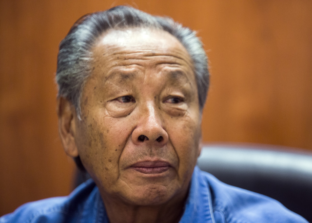 Kenneth Ng-Houng, a retired Caesars Palace  executive, during an interview at the Las Vegas Review-Journal on Monday, March 23, 2015. Ng-Houng lost his pension after Caesars Entertainment Operatio ...