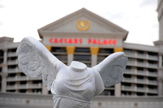 The Victory of Samothrace statue is seen on display in front of the Caesars Palace hotel-casino on Thursday, Dec. 11, 2014, in Las Vegas.  (David Becker/Las Vegas Review-Journal)