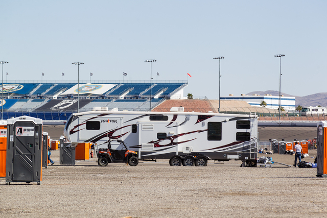 People clean and get ready to leave the infield RV lot the day after the NASCAR Sprint Cup Series Kobalt 400 race at the Las Vegas Motor Speedway on Monday, March 9, 2015. (Chase Stevens/Las Vegas ...