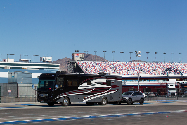 An RV heads toward the exit of the infield the day after the NASCAR Sprint Cup Series Kobalt 400 race at the Las Vegas Motor Speedway on Monday, March 9, 2015. (Chase Stevens/Las Vegas Review-Journal)