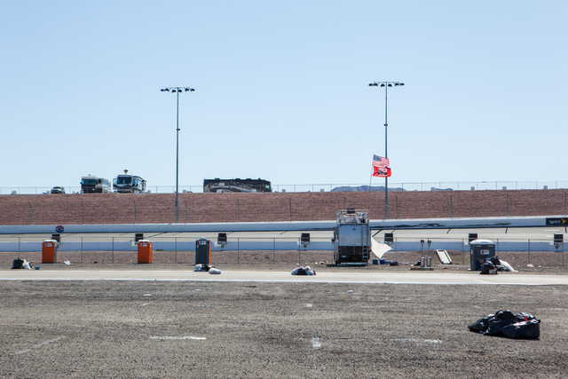 The infield RV lot is seen the day after the NASCAR Sprint Cup Series Kobalt 400 race at the Las Vegas Motor Speedway on Monday, March 9, 2015. (Chase Stevens/Las Vegas Review-Journal)