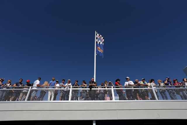 Fans take in the sights before for the start of the NASCAR Sprint Cup Series Kobalt 400 race at the Las Vegas Motor Speedway on Sunday, March 8, 2015. (Chase Stevens/Las Vegas Review-Journal)