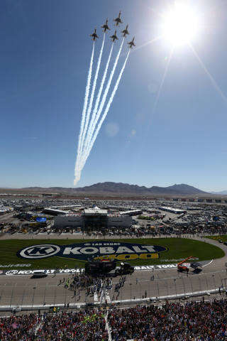 The United States Air Force Thurnderbirds make a pass during the National Anthem before the start of the NASCAR Sprint Cup Series Kobalt 400 race at the Las Vegas Motor Speedway on Sunday, March 8 ...