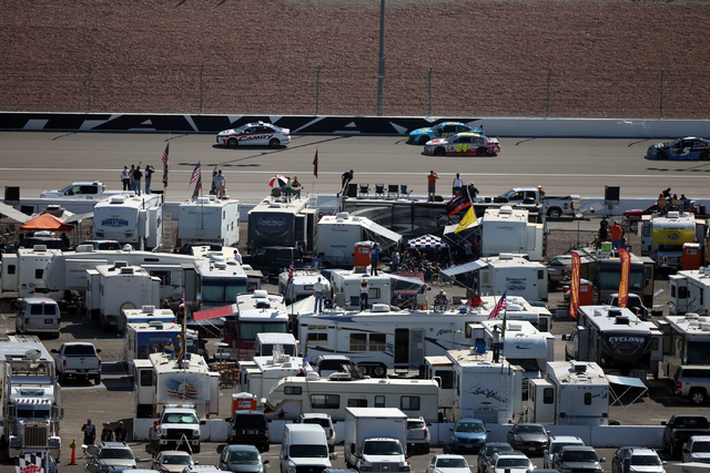 The pace car leads drivers before the start of the NASCAR Sprint Cup Series Kobalt 400 race at the Las Vegas Motor Speedway on Sunday, March 8, 2015. (Chase Stevens/Las Vegas Review-Journal)