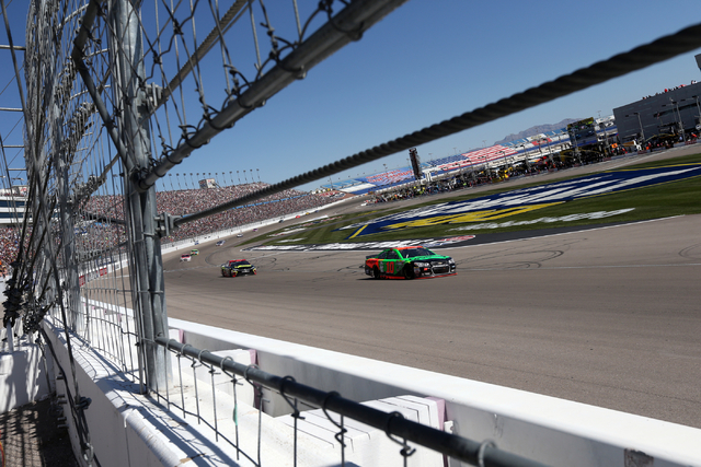 Danica Patrick (10) runs at the start of the NASCAR Sprint Cup Series Kobalt 400 race at the Las Vegas Motor Speedway on Sunday, March 8, 2015. (Chase Stevens/Las Vegas Review-Journal)