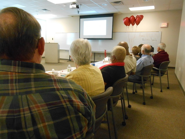 Attendees watch a video​ Feb. 12, 2015,​ during a session of ​the cardiac rehabilitation program​ at ​Summerlin Hospital Medical Center, 657 N. Town Center Drive. ​The balloons were he ...