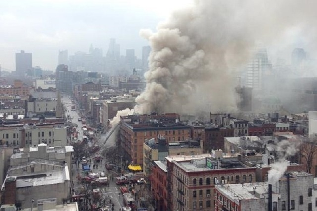 A building collapsed on Thursday in New York City's East Village neighborhood, police said. (Courtesy, @jmeyers44/Twitter)