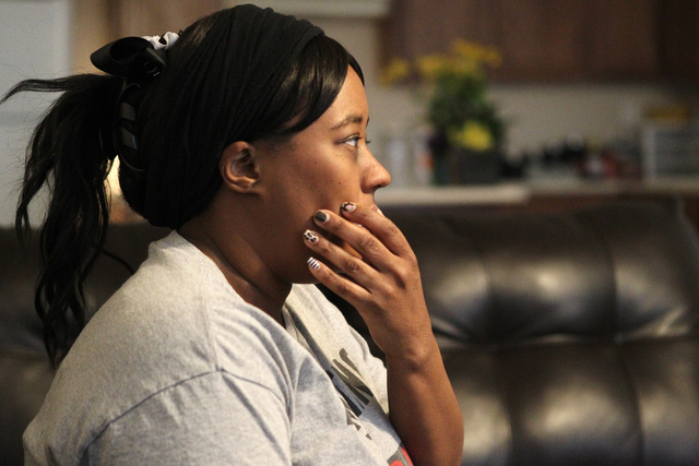 Natika Bird speaks on the timeline leading up to her daughter Carla Jamerson, 14, committing suicide on the night of Feb. 27, during an interview at her home in Las Vegas Thursday, March 5, 2015.  ...