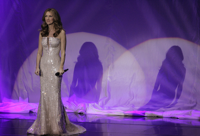 Celine Dion performs at Caesars Palace in Las Vegas during the opening night of her latest show, March 15, 2011. (John Locher/Las Vegas Review-Journal file)