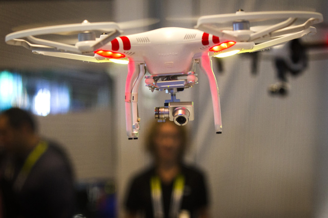 An  Inspire 1 drone seen Tuesday, Jan. 6, 2015 during Consumer Electronic Show in the Las Vegas Convention Center. Around 160,000 people with 25% coming from overseas are attending the  four-day C ...