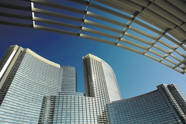 The Aria hotel-casino, part of the MGM-Mirage CityCenter  project, is shown on Friday, Sept. 11, 2009, in Las Vegas. The two Aria hotel towers have received gold certification from the U.S. Green  ...