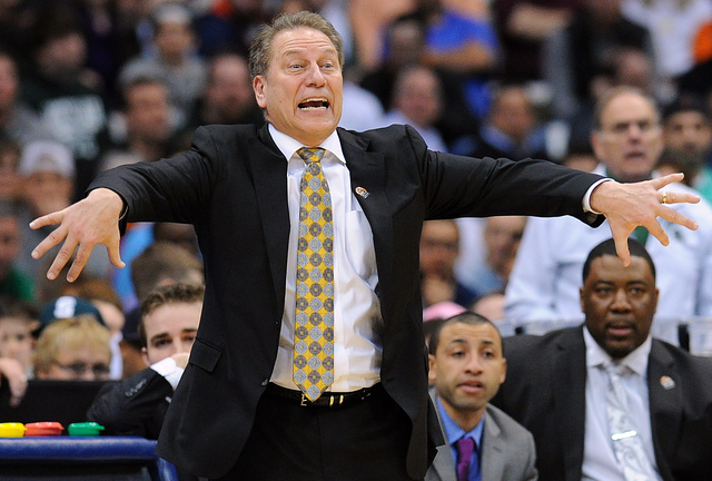 Michigan State Spartans head coach Tom Izzo calls to his team during the second half against the Oklahoma Sooners in the semifinals of the east regional of the 2015 NCAA Tournament at Carrier Dome ...