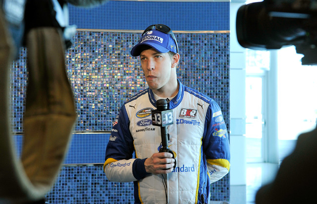 NASCAR driver Brad Keselowski speaks with members of the media during a brief break from testing new tires at the Las Vegas Motor Speedway on Monday, Jan. 19, 2015. (David Becker/Las Vegas Review- ...