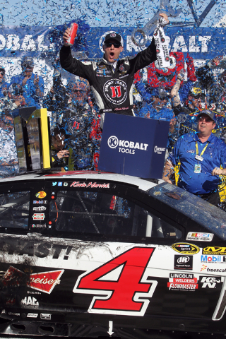 Kevin Harvick celebrates in Victory Lane after winning the NASCAR Sprint Cup Series Kobalt 400 race at the Las Vegas Motor Speedway on Sunday, March 8, 2015. (K.M. Cannon/Las Vegas Review-Journal)