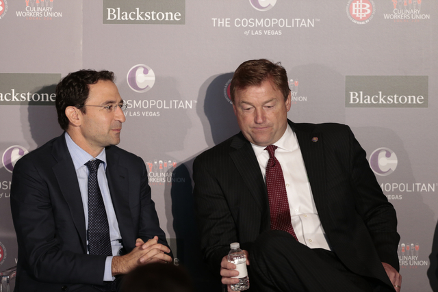 Global Head of Real Estate for Blackstone, Jonathan Gray, left, and Senator Dean Heller talk prior to kicking off contract talks between the Culinary representatives and Cosmopolitan officials at  ...