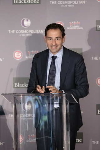 Global Head of Real Estate for Blackstone, Jonathan Gray, speaks as contract talks begin between the Culinary representatives and Cosmopolitan officials at the Cosmopolitan of Las Vegas, Wednesday ...