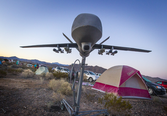 A replica of drone is seen Friday, March 6, 2015 at Camp Victory near the  south entrance to Creech Air Force Base at Indian Springs. Nearly 150 anti-drone warfare protesters gathered with 34 bein ...