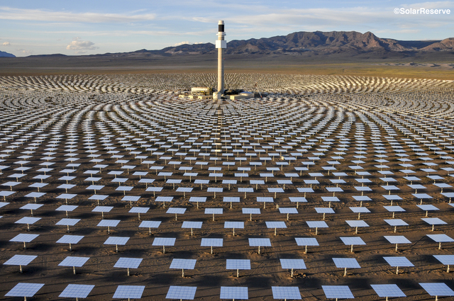 A photo from June 26, 2014, shows the Crescent Dunes Solar Energy Project outside Tonopah, about 225 miles northwest of Las Vegas. Project engineers have adopted new procedures after more than 100 ...