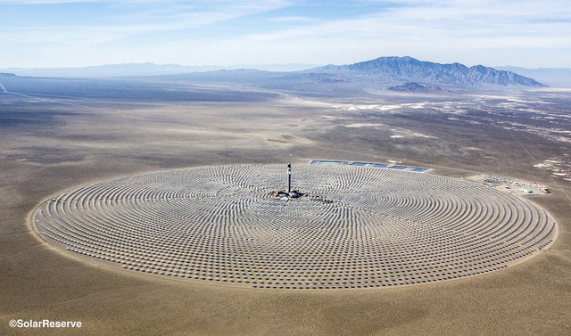 An aerial photo from June 26, 2014, shows the Crescent Dunes Solar Energy Project outside Tonopah, about 225 miles northwest of Las Vegas. Despite the death of more than 100 birds during a test of ...