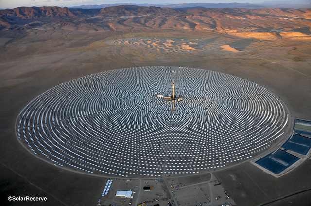 An aerial photo from June 26, 2014, shows the Crescent Dunes Solar Energy Project outside Tonopah, about 225 miles northwest of Las Vegas. Project officials said they have come up with a way to op ...