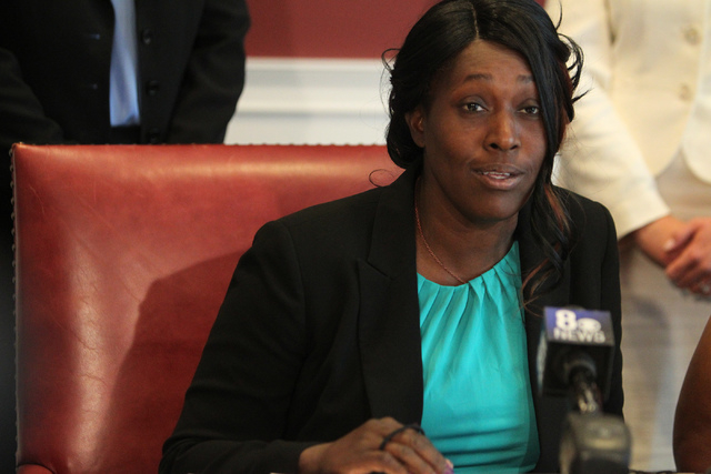 Nychele Thomas, mother of one of two teenagers who died in a crash with a drunk driver on March 5, speak to the media during a press conference at the Harris and Harris Law Firm offices in Las Veg ...