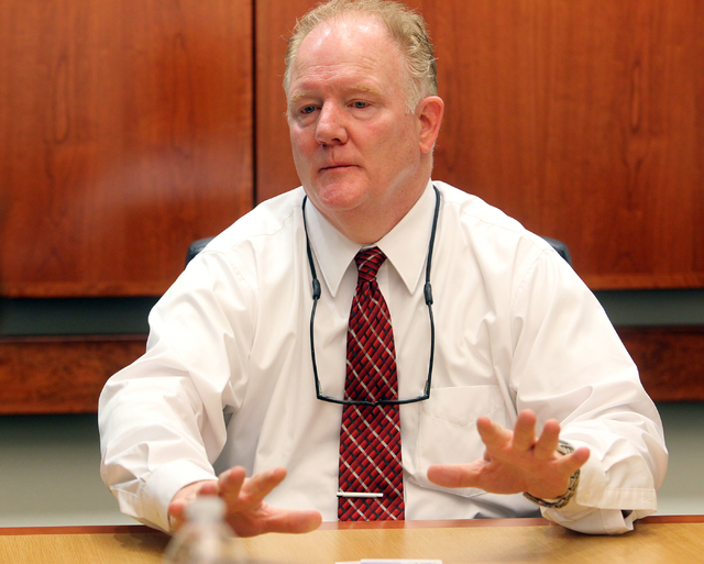 Matthew Anderson, a candidate for North Las Vegas City Council Ward 4, talks to the Las Vegas Review-Journal editorial board at the Review-Journal offices in Las Vegas on Thursday, March 5, 2015.  ...