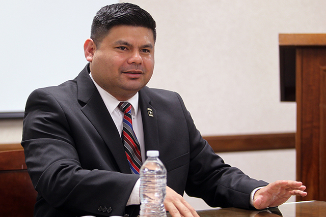 Richard Carreon, a candidate for North Las Vegas City Council Ward 2, talks to the Las Vegas Review-Journal Editorial Board at the Review-Journal offices in Las Vegas Wednesday, Feb. 11, 2015. (K. ...