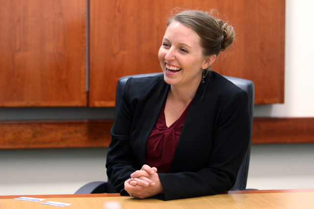 Crystal Hendrickson, a candidate for Henderson City Council Ward 2, talks to the Las Vegas Review-Journal editorial board at the Review-Journal offices in Las Vegas on Monday, March 2, 2015. (K.M. ...