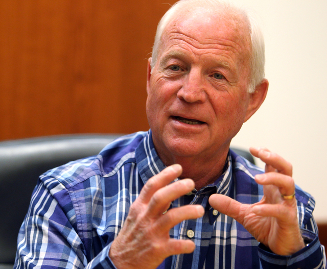 Richard Moyer, a candidate for North Las Vegas City Council Ward 2, talks to the Las Vegas Review-Journal editorial board at the Review-Journal offices in Las Vegas on Monday, March 2, 2015. (K.M. ...