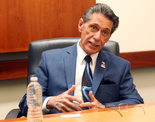 Richard Cherchio, a candidate for North Las Vegas City Council, Ward 4, talks to the Las Vegas Review-Journal editorial board at the Review-Journal offices in Las Vegas on Monday, March 2, 2015. ( ...