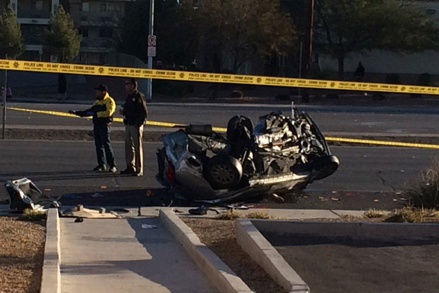 Two women were killed in a two-vehicle crash at Boulder Highway and Russell Road early Thursday morning, March 5, 2015. (Bizuayehu Tesfaye/Las Vegas Review-Journal)