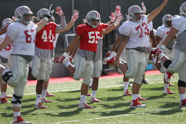 UNLV's linebacker Tau Lotulelei (55) stretches with his team during practice at Rebel Park in Las Vegas Monday, March 23, 2015. (Erik Verduzco/Las Vegas Review-Journal)